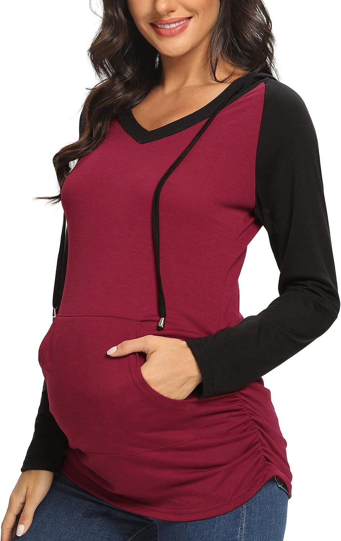Burgundy + Black, XL AMPOSH Womens Maternity Sweatshirt Tops Long Sleeve V Neck Hoodie Pregnancy Shirts Clothes with Pocket