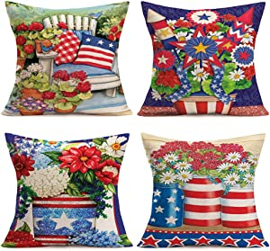 """Xihomeli American Flag Pillow Cover USA Patriotic 4th of July Independence Day Home Decorative Cushion Cover Colorful Flower Pot Cotton Linen Pillow Case 18"""" x 18"""" Set of 4 (4 Pack Independence Day)"""