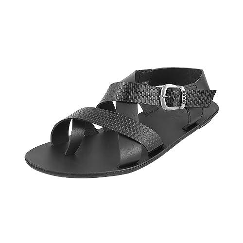 3961d91a30b677 Mochi Men Black Leather Sandals (18-675)  Buy Online at Low Prices ...