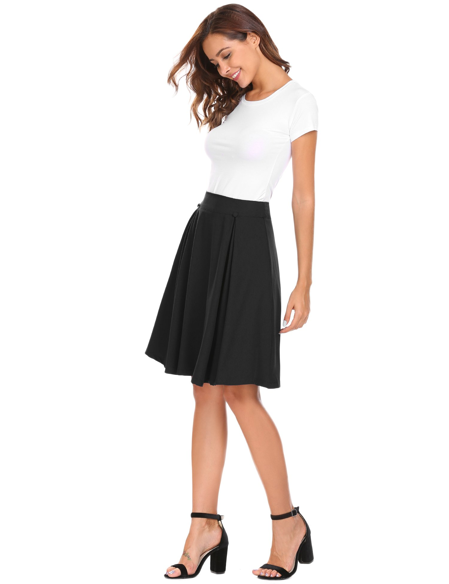 Zeagoo Women's High Waist Flared Skirt Pleated Midi Skirt Black L for Work