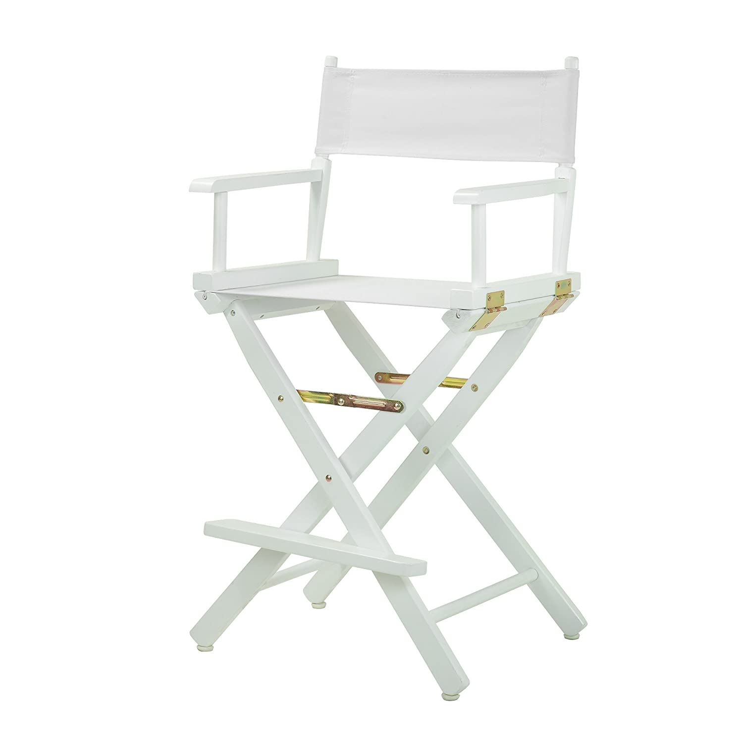 """Casual Home 24"""" Director's Chair White Frame with White Canvas, Counter Height"""