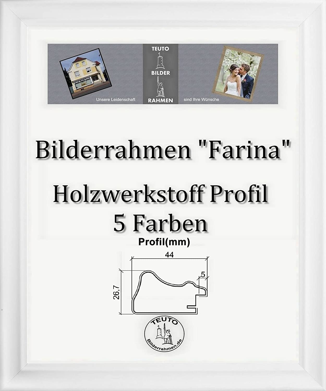 Farina Barock Bilderrahmen 45 x 145 cm Farbe und Verglasung wählbar 145 x 45 cm Hier  Weiss gemasert mit Acrylglas Antireflex 2 mm