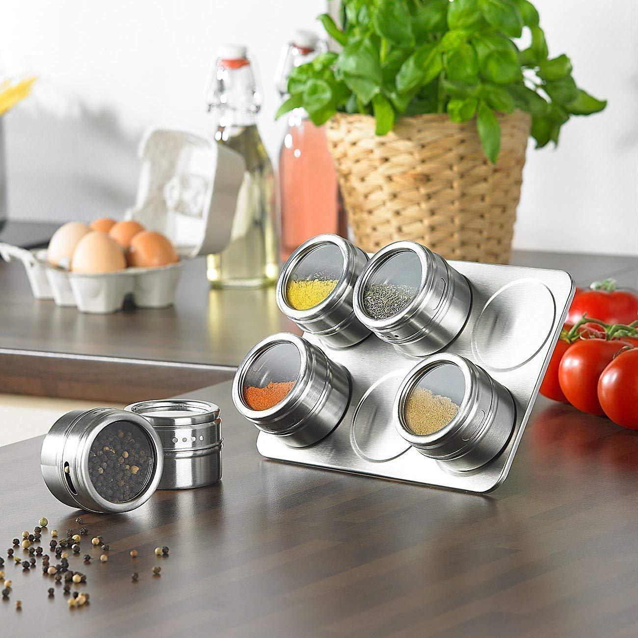 Botes para especias, 6 piezas Pote de condimento magnético de ...