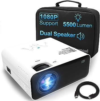 Opinión sobre Proyector Portátil, Waygoal 720P Nativo 5500 Lúmenes mini proyector, Soporta 1080p Full HD Cine en Casa, Altavoces Duales 60000 Horas Vida, Compatible con Smartphone/TV Stick/PS4/TV Box/HDMI/USB/VGA