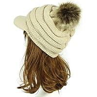 IBLUELOVER Gorro de Lana para Mujer Gorro Plano Sombrero Visera Gorros de Invierno Sombreros con pompón Grande Piel…