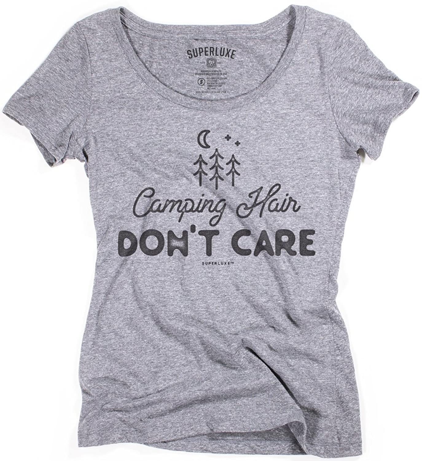 Superluxe@ Womens Camping Hair, Dont Care Tri-Blend Scoop Neck T-Shirt