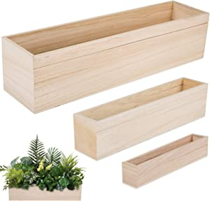 3 Packs Rectangle Wood Planter Boxes- 8/12/16 Inch Wooden Rustic Window Plant Pot Box with 12 Pcs Plastic Film Liner Bags for Holding Indoor Home Table Centerpiece Flower Wedding Decor