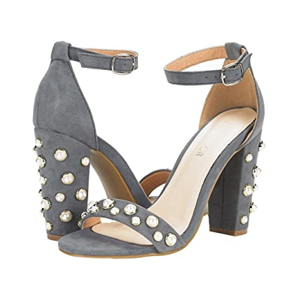 2cf1f1511b93 ... JENN ARDOR Women s High Chunky Block Heel Sandals with Ankle Strap Open  Toe Pearl Evening Dress ...