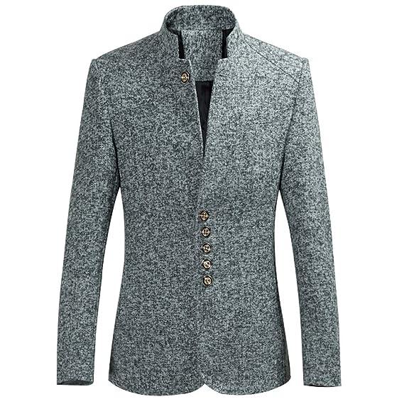 Homme Business Blazer Vestes De Costume Hiver Chaud Manteau Blousons Slim  Fit Gris S 98880f27dd8