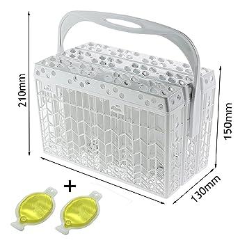 Spares2go Universal Slimline cesta de cubiertos de tapa y mango + 1 Pack de 2 ambientadores