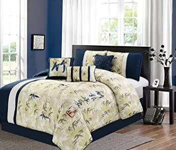 embroidery bamboo bhp forest ebay collection chezmoi comforter queen set piece