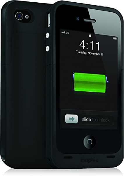 Mophie Juice Pack Plus - Funda batería rígida con batería integrada (2000 mAh) para iPhone 4 / 4S color negro: Amazon.es: Electrónica