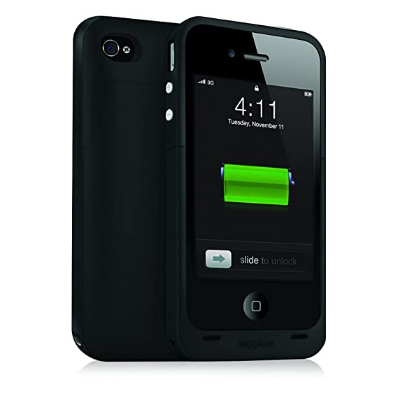 half off 81c52 6d3fa mophie Juice Pack Plus Battery Case for iPhone 4/4S - Black