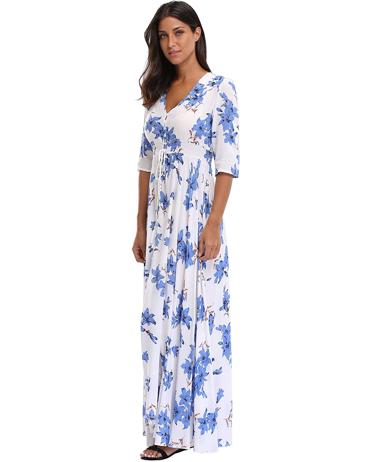 72adddd3782 Summer Floral Print Maxi Dress Women Button Up Split Long Flowy Bohemian  Beach Party Dresses at Amazon Women s Clothing store