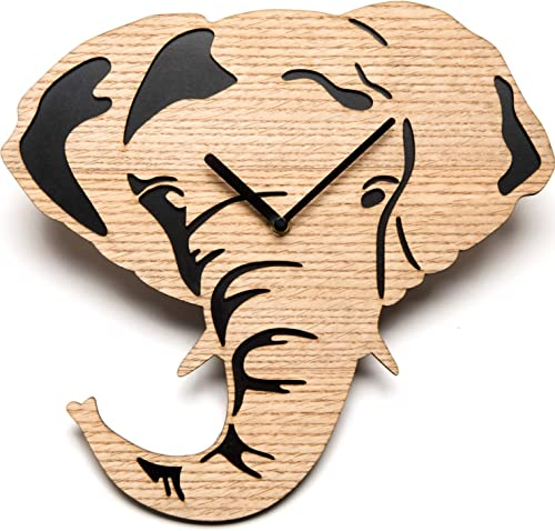 Driini Wooden Elephant Wall Clock with Light, Richly Colored Wood Face overlying a Dark Backing – Battery Operated with Analog Silent Sweep Movement – Perfect Home Decor or Gifts for Elephant Lovers