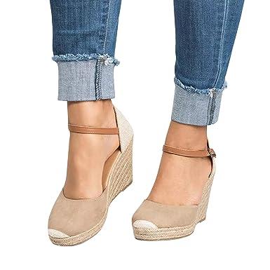 d6fea3f2e82c4 Womens Wedges Sandals Ankle Buckle Strap Espadrilles Platform Closed Toe  Cut Out Casual Summer Shoes