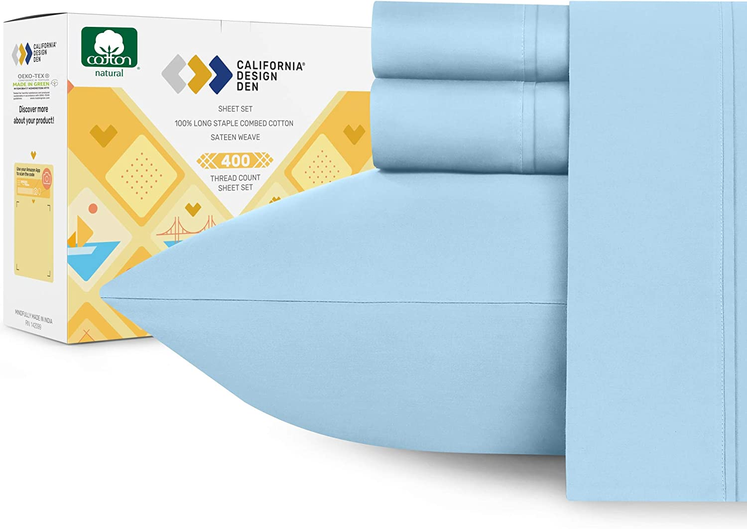 400 Thread Count 100% Cotton Sheet Set, Sky Blue Queen Sheets 4 Piece Set, Long-Staple Combed Pure Natural Cotton Bed Sheets for Bed, Soft & Silky Sateen Weave California Design Den