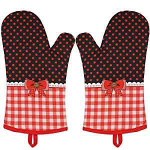 Silicone Oven Mitts Heat Resistant Butterfly Pattern Potholder Oven Gloves for Cooking Grilling BBQ Baking 1 Pair By YUTAT