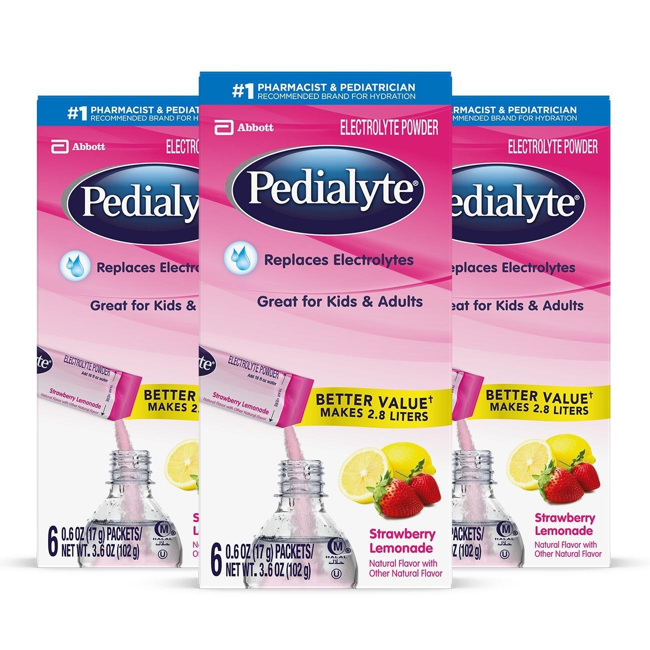 Pedialyte Electrolyte Powder, Grape, Electrolyte Hydration Drink, 0.6 oz Powder Packs, 18 Count Abbott Laboratories 070074662640