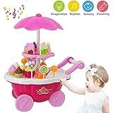 Kinder Eiswagen Trolley Spielzeug, Spielhaus Spielzeug, Rollenspiel Spielzeug Set, Kinder Rollenspiel Spielzeug, Mini Trolley Shop Spielzeug mit Licht und Musik