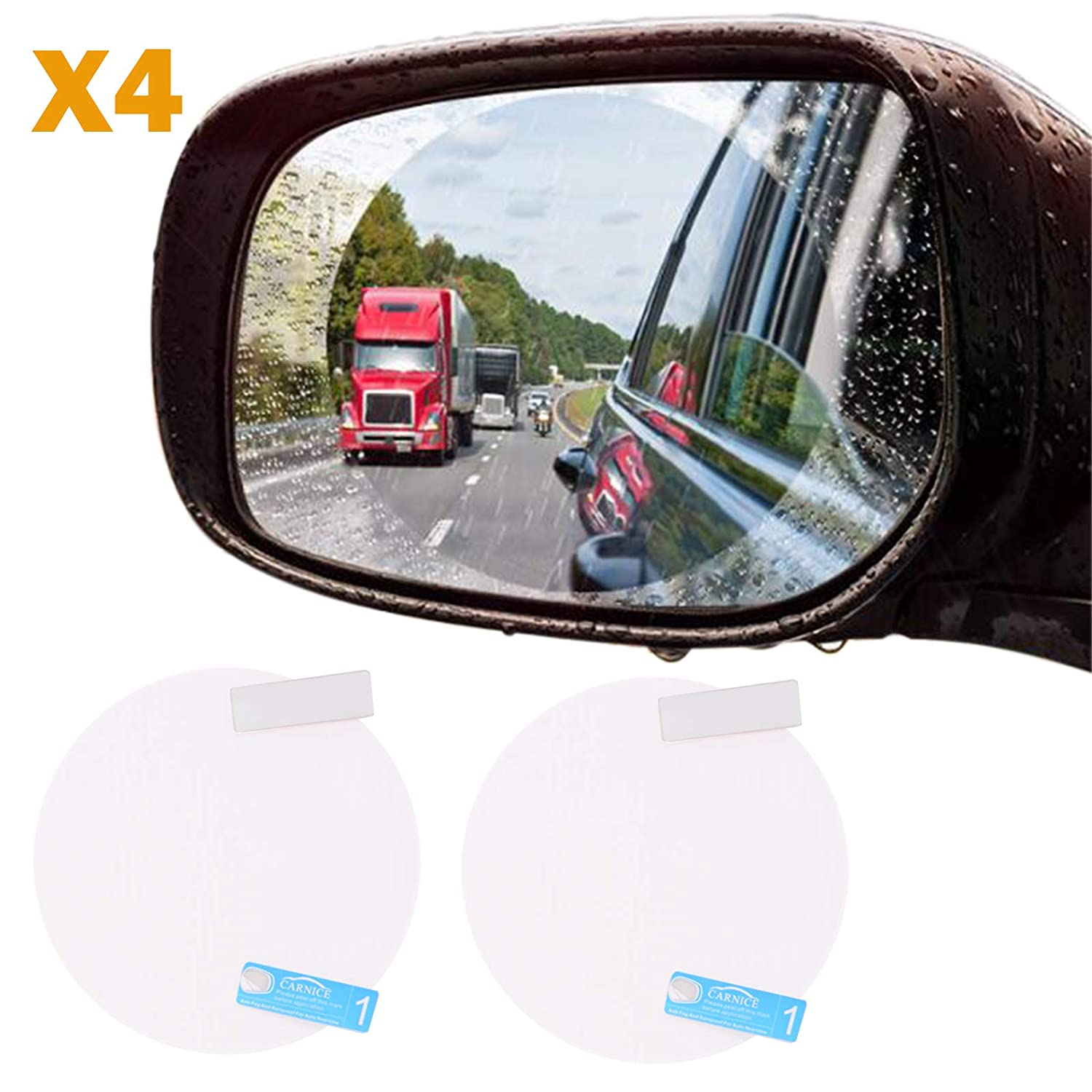 Voilamart Car Truck SUV Rearview Mirror Rainproof Film, 4Pcs HD Clear Screen Waterproof Protective Film, Anti-Fog Anti Scratch Round Soft Film - Round