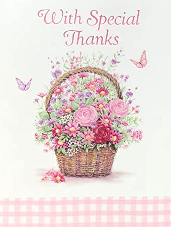 Amazon Com Tender Thoughts Flower Basket Thank You Note Cards Set