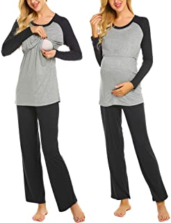 Ekouaer Womens Maternity Pajamas Set Long Raglan Sleeve Baseball Nursing Nightgown for Breastfeeding Sleepwear (S