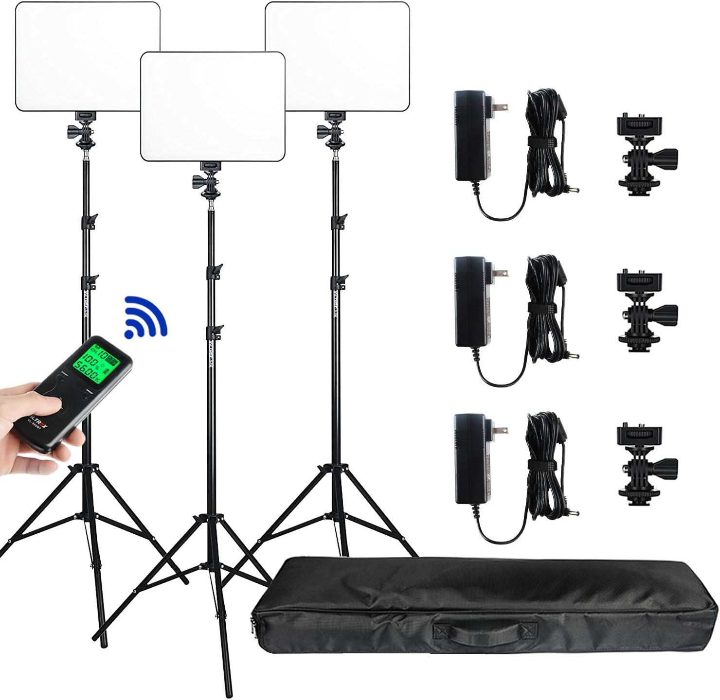 (3 Packs) VILTROX vl-200 Light 30W Bi-Color 3300K-5600K Studio Lights Kit with Stand,CRI 95+ Wide Angel LED Photography Lighting for Video Shooting