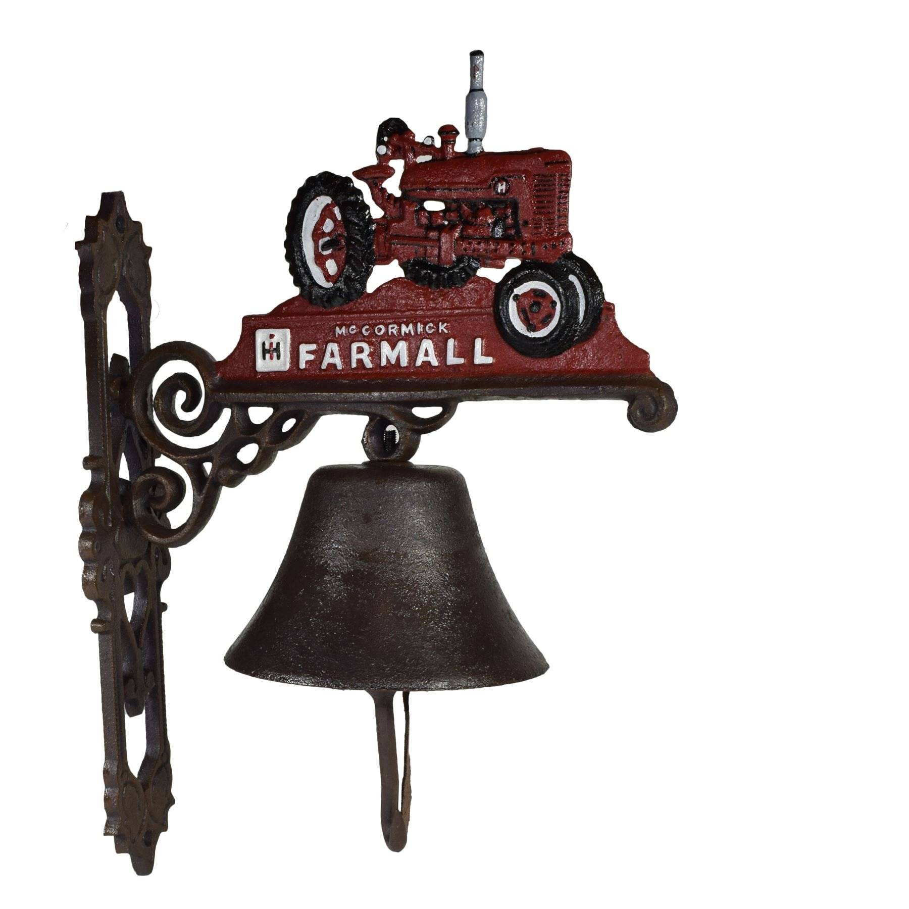 AB Tools Red Farmall Tractor Farm Bell Cast Iron Sign Plaque Door Wall Gate Post House