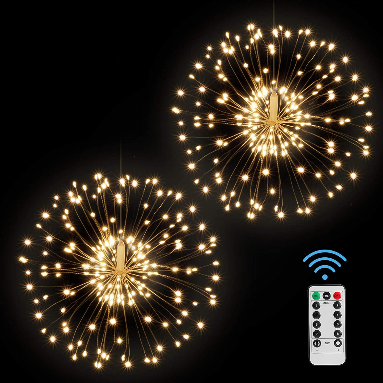 2 Pack Firework Lights LED Starburst Lights,120 Led 8 Modes Dimmable Copper Wire String Lights with Remote Control for Christmas Party Decoration
