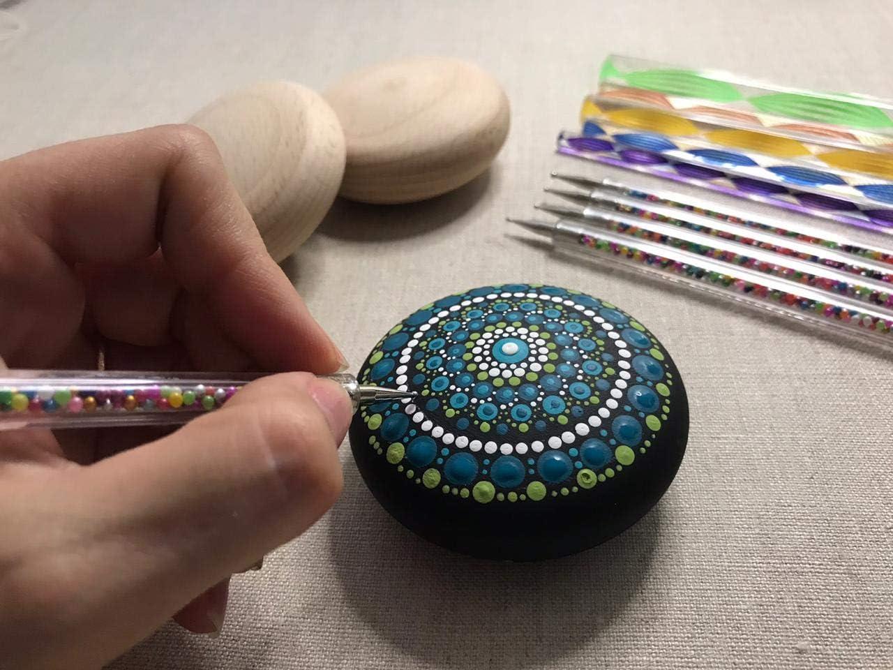 Round Wooden Mandala Pebbles Small Dot Mandala Art Stones Rocks Smooth