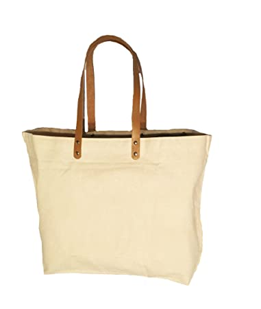 97a854559d Image Unavailable. Image not available for. Color  Pack of 50-10 oz. Cotton  Canvas Bag with Brown leather handles ...