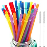 32 Pieces Reusable Plastic Straws Fit for Mason Jars, Tumblers, 10.25 Inches Extra Long Rainbow Colored Unbreakable Drinking