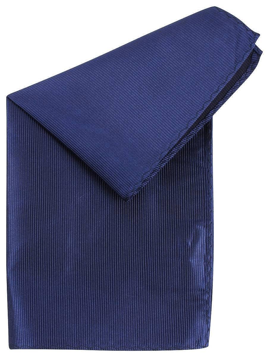 Navy Knightsbridge Neckwear Mens Ribbed Silk Pocket Square