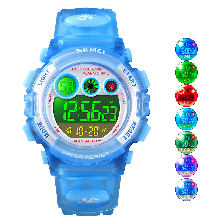 Watches Precision Digital Lcd Kids Girls Fashion Wristwatch Cute Pink Pu Strap 50m Waterproof Child Watches Alarm Clocks Stopwatch Al