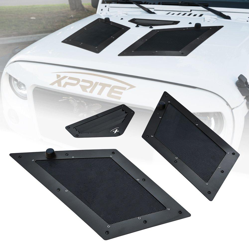 Xprite Black Cobra Hood Vents & Louver for 07-18 Jeep Wrangler JK