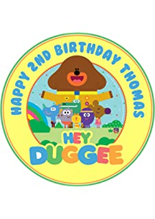 HEY DUGGEE CAKE TOPPER PERSONALISED ROUND EDIBLE ICING CAKE DECORATION