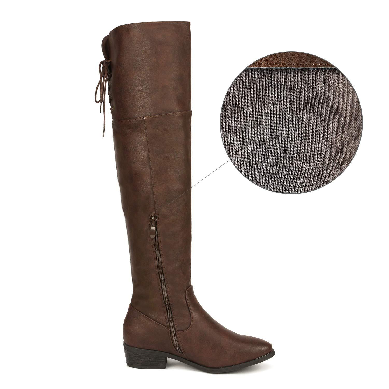 DREAM PAIRS Frauen-LEI Kniehohe Stiefel Stiefel Stiefel 10.5 B (M) US Damen Braun 10.5 M US f36e35