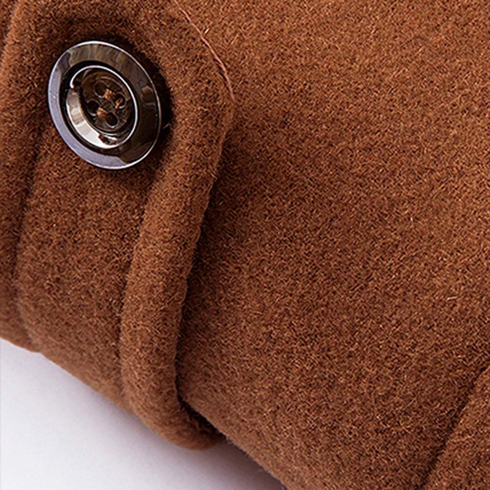 Emubody Windproof Long Section Thick Coat Wool Trench Coat Casual for Men, Business Style, Jacket Thick, Thin Overcoat at Amazon Mens Clothing store: