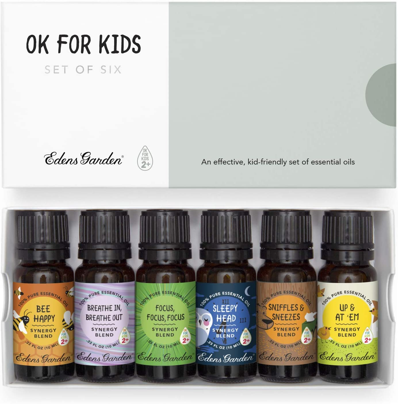 "Edens Garden""OK for Kids"" 6 Set, Best 100% Pure Essential Oil Synergy Blend Aromatherapy Starter Kit (Child Safe 2+, for Diffuser & Therapeutic Use), 10 ml"