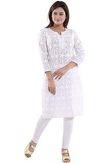 a9b632f96808 Queenshield Chikankari Kurtis for Women Cotton Chikan Kari Kurta Kurti  Indian Dress for Girls Ladies -