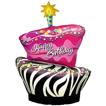 Awe Inspiring Official Costumes Funky Zebra Birthday Cake Foil Balloon Amazon Funny Birthday Cards Online Alyptdamsfinfo