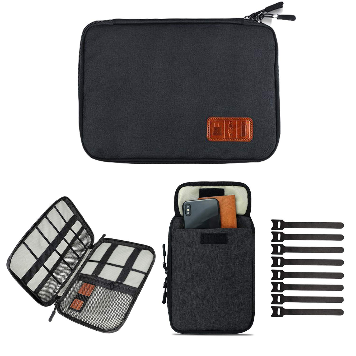 Cable Organizer Bag,Travel Electronics Accessories Case with 8 Cable Ties for USB Cable Cord, Accessories Storage Bag for Pen Hard Cables Earphone Ipad iPhone (Up to 7.9)
