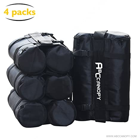 ABCCANOPY Gazebo Bolsas de Peso para Gazebo Pop Up, Bolsas de Arena para instantáneo al Aire Libre Refugio Solar Gazebo Patas, Paquete de 4, 2-Negro