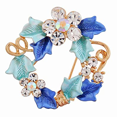 1eb034cbeb8 Buy Maayra Designer Flowers Leaves Blue Brooch for Women (Party wear Saree  pin_Crystal Studded) Online at Low Prices in India | Amazon Jewellery Store  ...