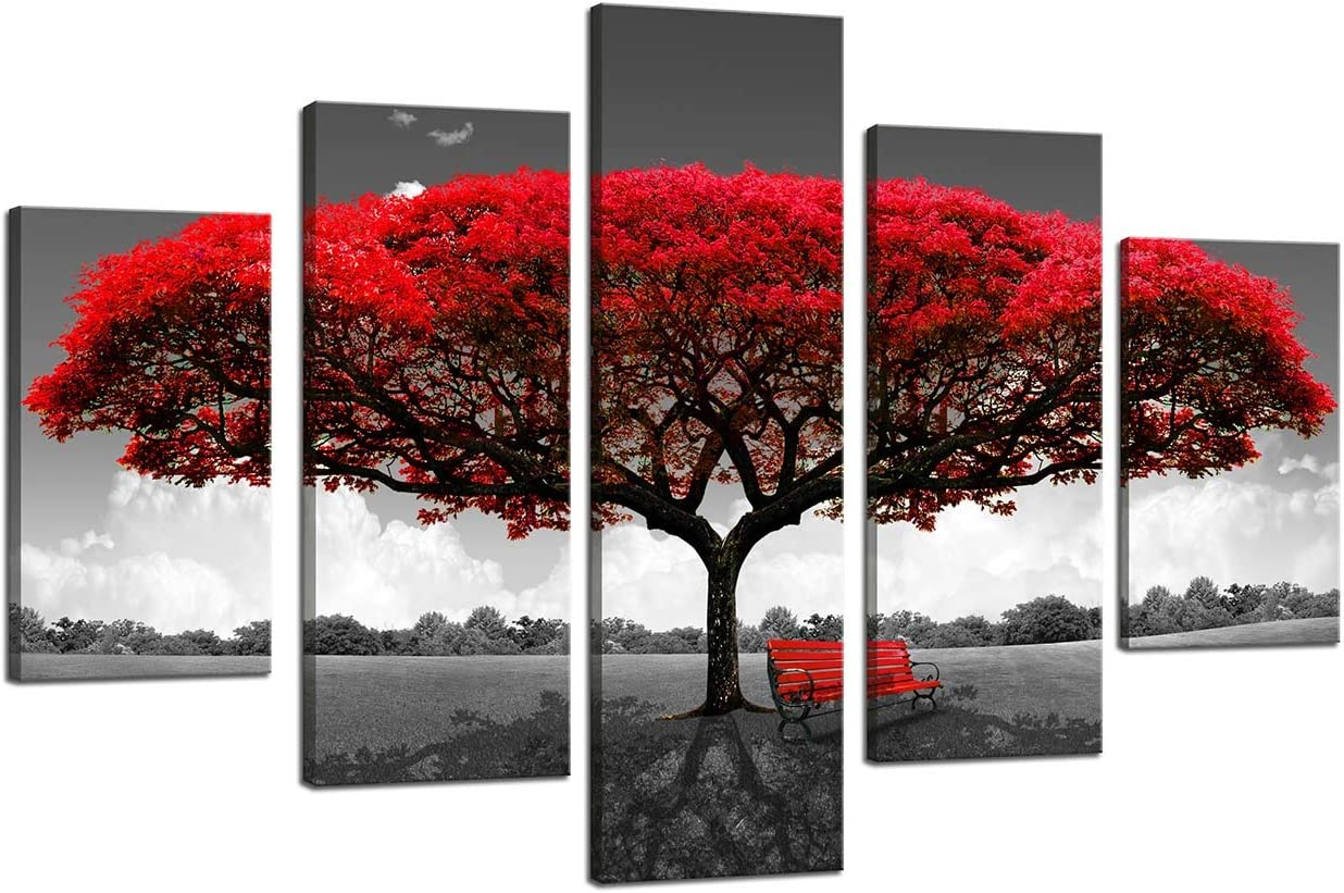 Red Tree Canvas Wall Art Picture Prints on Canvas for Wall Decor, Stretched and Framed Ready to Hang (Five - sided mangrove painting)