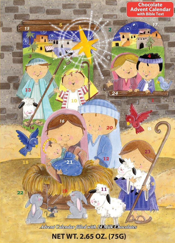 Vermont Christmas Company Smiling Shepherds Chocolate Advent Calendar & Nativity Story
