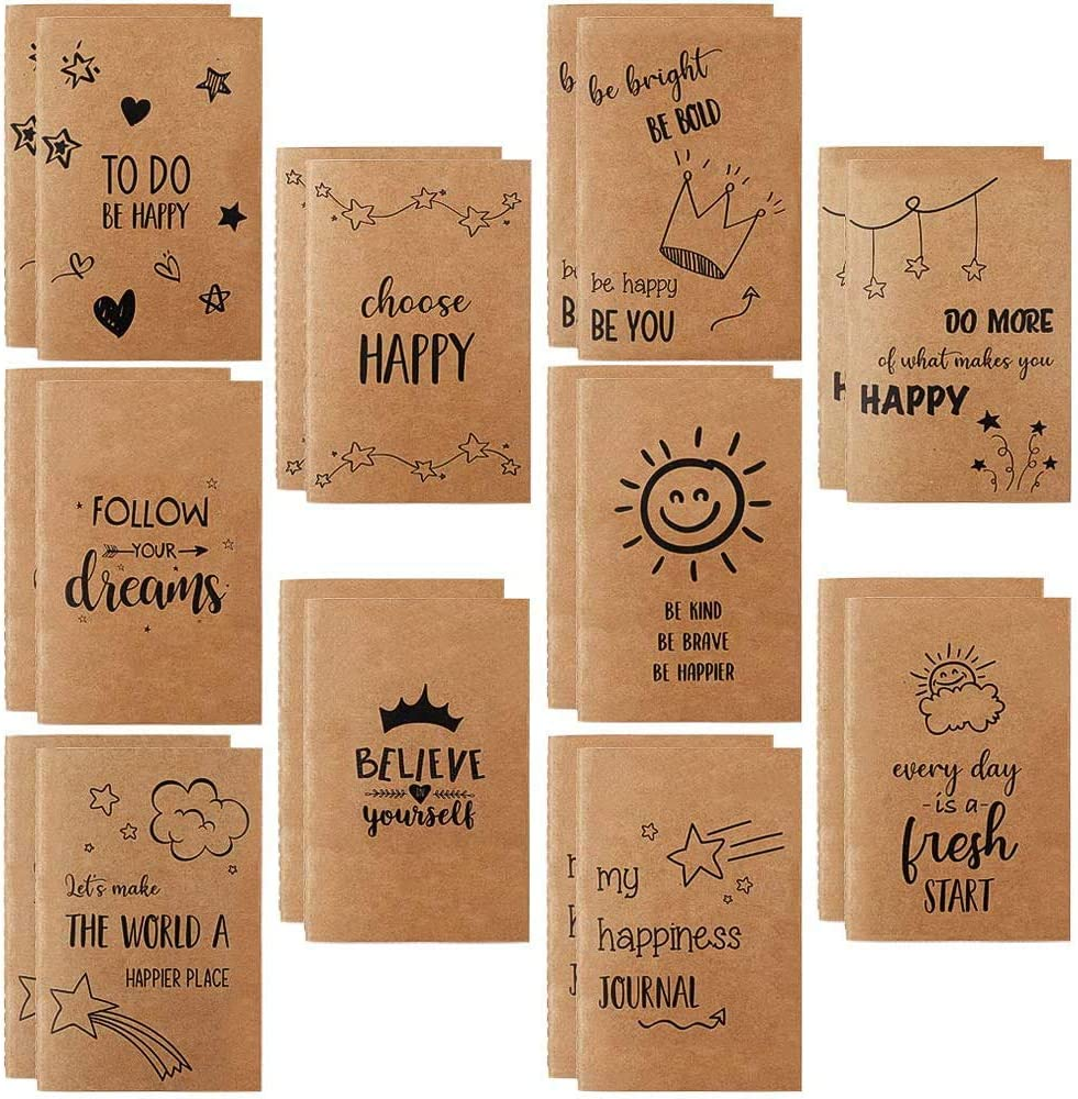 """JPSOR Mini Kraft Notebook, 20 Pack Lined Notebook Journals, 3.5"""" x 5.5"""" Pocket Notebook with 10 Different Happy Designs, Inspirational Notebook 80 Pages for Kids,Students, Office, School Supplies"""