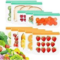 Opret Bolsas Almacenamiento de Alimentos Reutilizables, 10 Pack Bolsas Congelar Reutilizables de 3 Tamaños Bolsas de…