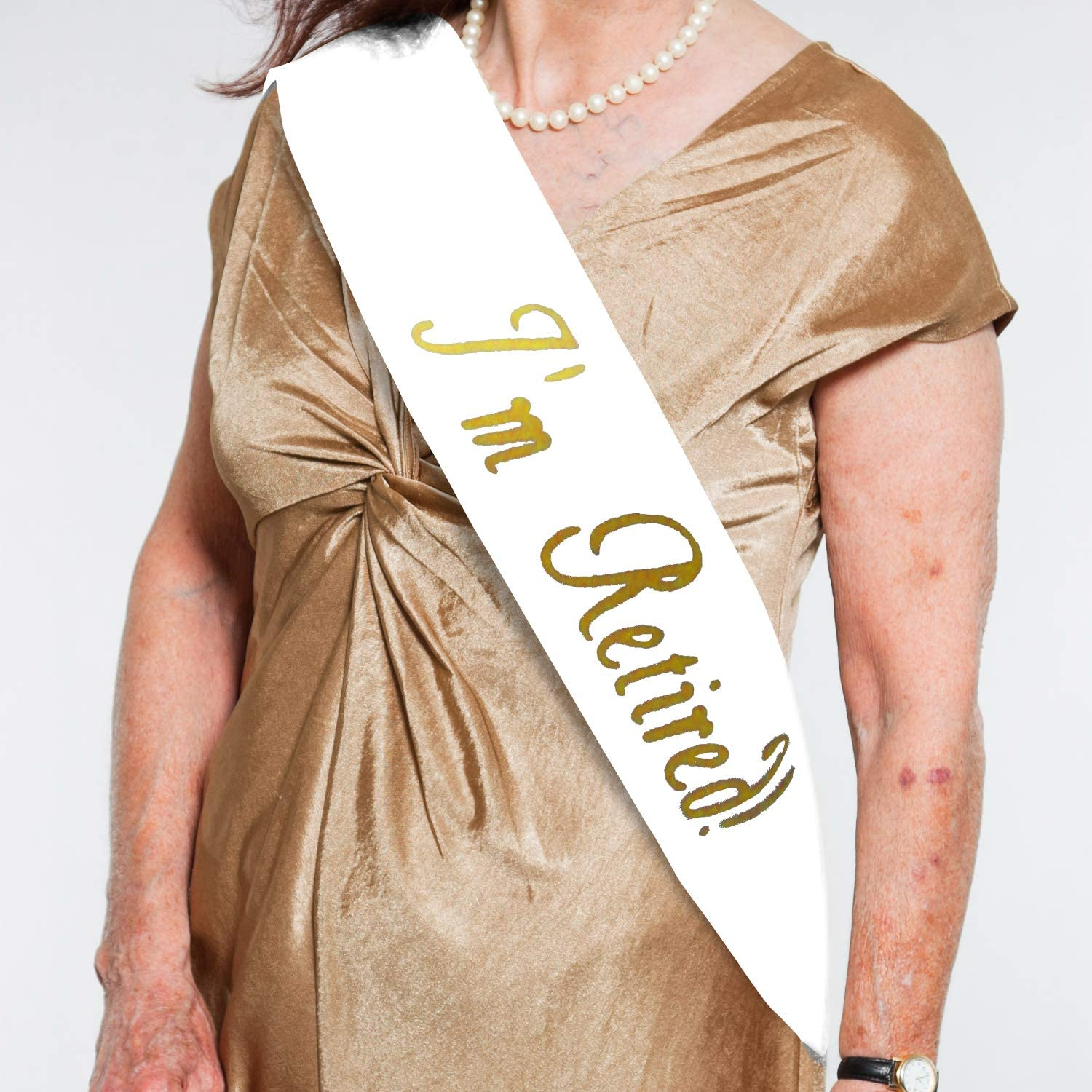 Personal I/'m Retired Sash Satin Retirement Party Banner Black And Gold Glitter